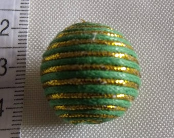 pearl, woven wire, gilded, dark green, 22mm