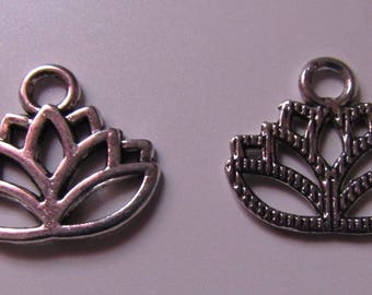 silver charm, set of 4, lotus flower, 15mmx17mm