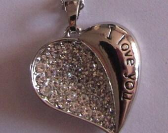 heart pendant, rhinestone pendant, for necklace