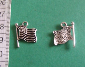 silver charm, set of 8, United States flag, 18mmx15mm, creation jewelry, accessory