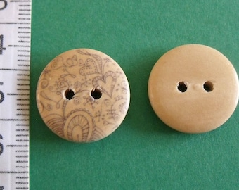 wooden buttons, set of 8, printed, 18mm diameter
