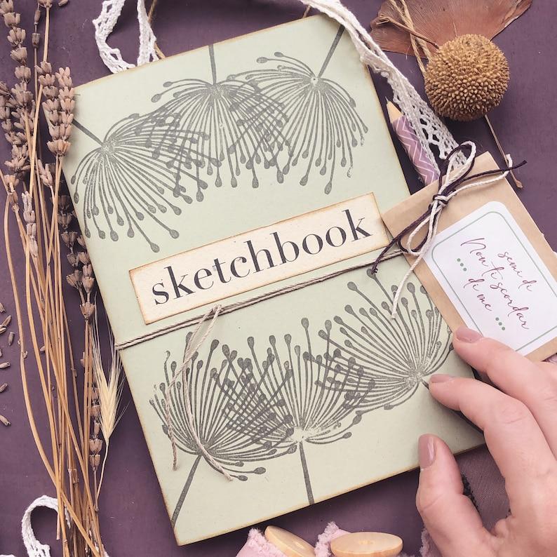 Handmade dandelion sketchbook with recycled paper sketchbook image 1