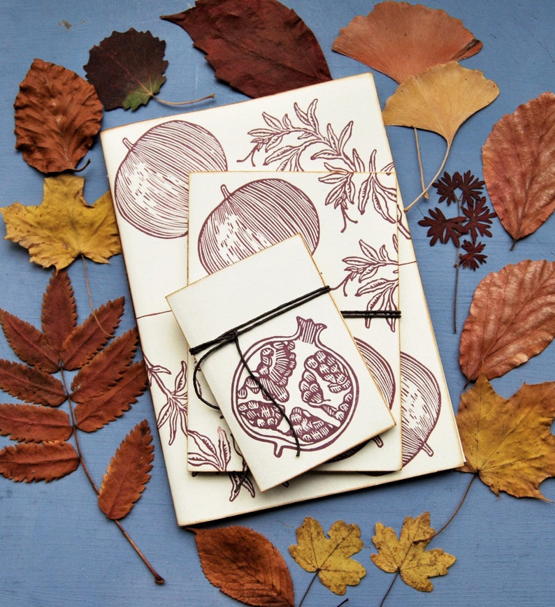 Handmade stationery set with recycled paper handprinted image 0