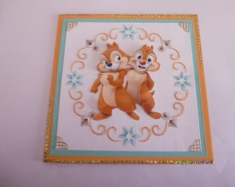 """201813 embroidered card """"chip and Dale little squirrels"""""""