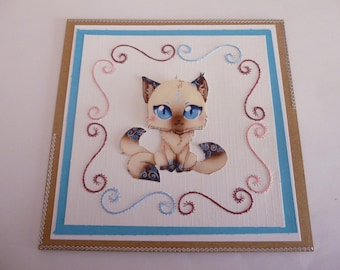 """201815 embroidered """"little Siamese cat"""" card"""