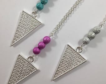 Silver triangle necklace engraved blue, pink or silver glitter beads