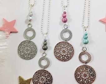 Silver pinwheel Necklace blue, pink, grey or black