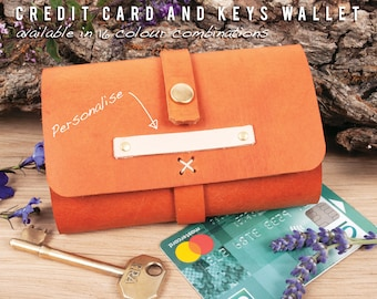 Key pouch with credit card holder. Personalised wallet. Handmade leather key wallet. 6 Key case, 3rd anniversary gift.