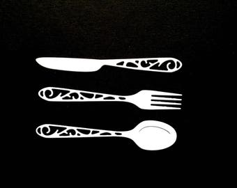 1 lot cutlery fork knife spoon scrapbooking embellishment die cut scrap album deco