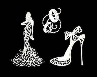 Cuts scrapbooking married glamorous bow pumps wedding dress Princess fairy embellishment Scrapbook die cuts