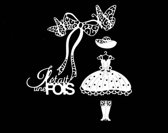 Cuts scrapbooking word once upon a time pet bowtie dress Hat boots Princess fairy tale