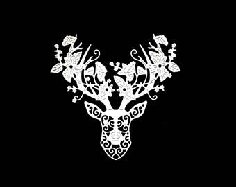 Cut scrapbooking scrap deer head floral flower animal Christmas Reindeer cut paper embellishment die cut scrap album deco