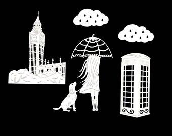 Cuts scrapbooking scrap London girl dog umbrella cut paper die cut embellishment creation