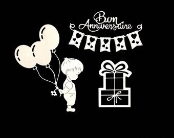 cuts scrapbooking birthday boy flower balloons gift Word Garland cut paper embellishment die cut creation