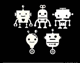 lot 5 cuts child's toy robot cut paper decoration die cut embellishment