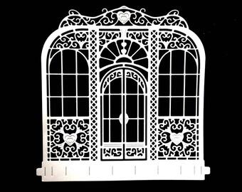 Cut scrapbooking scrap door window front heart cutout paper embellishment die cut creation