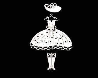 Cuts scrapbooking scrap princess dress Hat boots wedding wedding Princess fairy girl Scrapbook embellishment