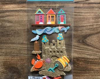 Self-adhesive stickers pouch embossed seaside vacation, beach sand, shovel, bucket, crab, decorating Scrapbook card making