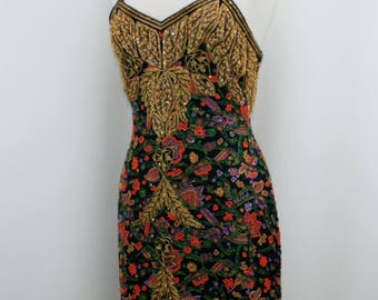 Jasdee Vintage Bead /& Sequins Dress Hand Work /& Hand Print On Silk Style 5007M
