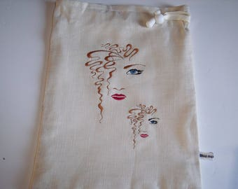 Clutch, pouch white linen with faces