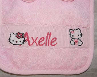 Baby embroidered HELLO KITTY cross stitch bib