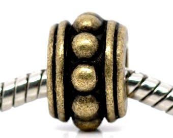 5 European beads separately bronze 12mm x 8mm