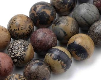 Natural dendritic jasper pearl, round, 8mm, lot of 10 pearls