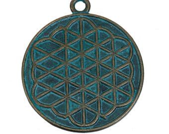 Ethnic life in 40mm x 34mm oxidized silver flower pendant