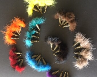 Faux fur ball, 25mm, with brass cap and eye, several colors available, set of 4 pcs