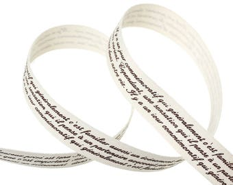 Cotton Ribbon, text message french 7 time 9,10 meters, Taupe background for creation