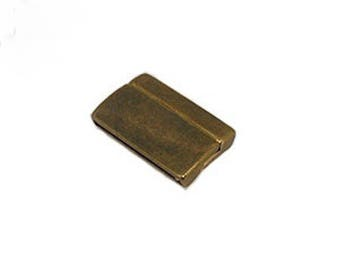 Clasp for up to 30 mm slightly curved antique gold/bronze leather