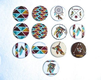 Cabochon Native American, resin on white cardstock, set of 13