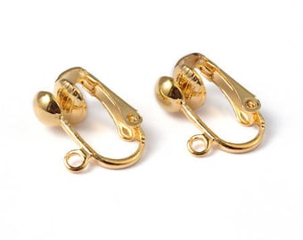 Clip earrings gold metal, set of 2 pairs