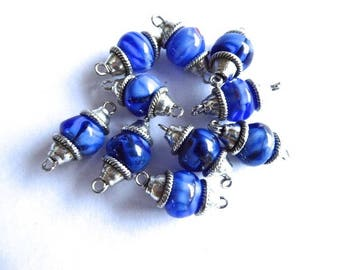 10 blue beads with silver cups