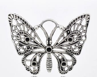 Charm butterfly, ornate, metal silver 48x36mm, set of 9