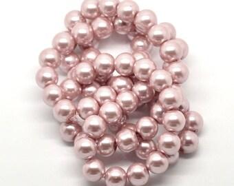 Soft pink glass bead, round, 12 mm, set of 10 Pcs