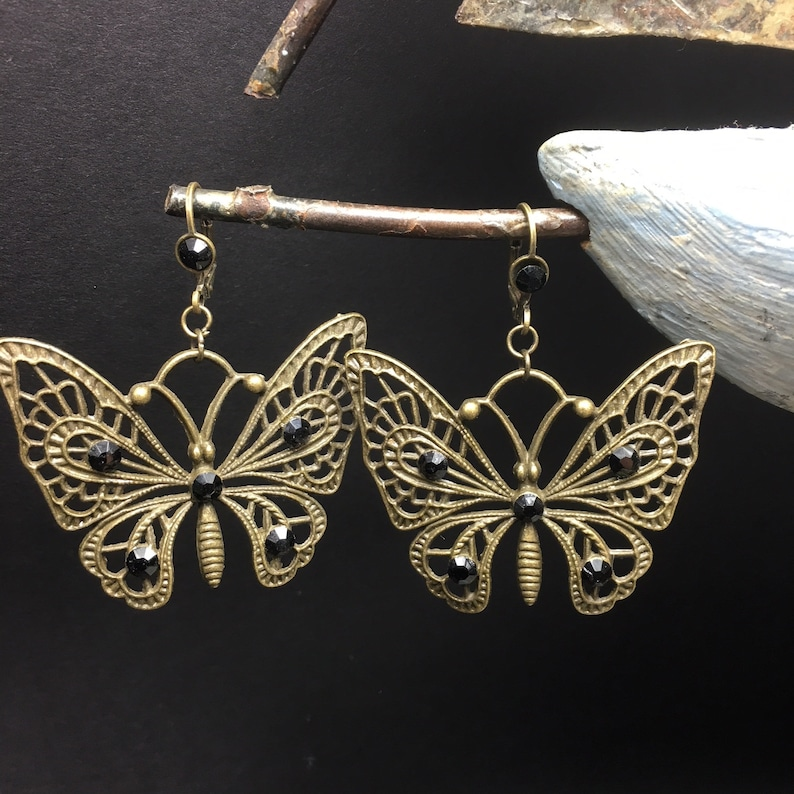 butterfly black rhinestones Kit earrings romantic