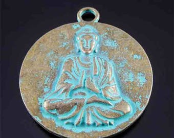 Pendant medal Buddha oxidized metal 65 * 56 * 7mm