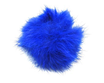 Ball of blue plush with loop elastic size 60mm