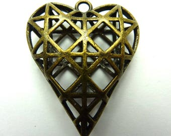 5 ornate antique bronze heart charms