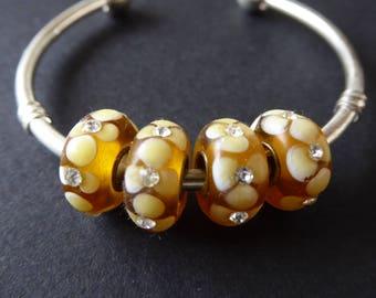 15 Lampwork European beads and rhinestones