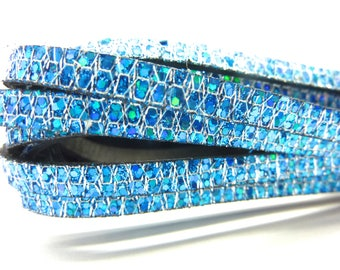 5mm flat leather, blue iridescent, sold by 20 cm