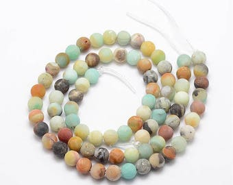 Pearl Amazonite natural, frosted, round, 8 mm, set of 10
