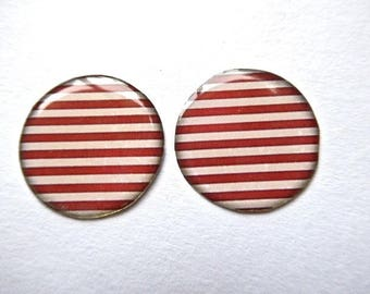 Navy stripe cabochon, resin on white cardstock, 25mm, 1 pair