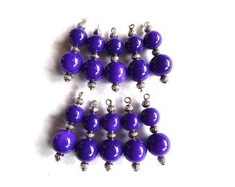 Purple round glass bead ready to assemble, set of 10 Pcs