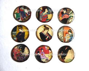 Resin cabochon on white cardstock, Asian theme, 25 mm sold per 9
