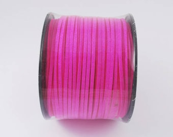 Pink suede cord, faux suede, 3mm, sold per 1 M