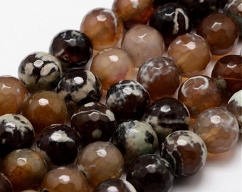 Natural fire agate pearl faceted, round,sienna, 12mm, hole: 1.5 mm,lot of 10 Pcs