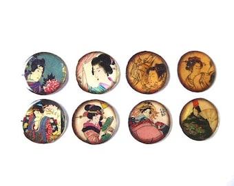 8 resin 25 mm Asian Japan theme cabochons
