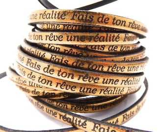 """Flat leather strap, 5 mm, bronze with message """"make your dream a reality, sold by 20 cm"""